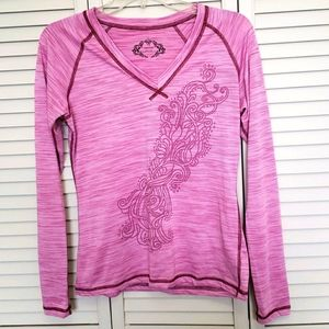 PrAna Breathe GraphicTop, Pink, Size M
